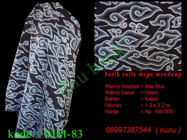 Batik Mega Mendung, mega mendung abu2 hitam, batik cirebon